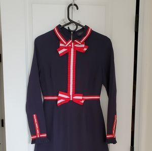 Gracia navy and red bow dress XS